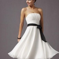 Spring White Strapless Tube Top Cocktail Dress - Basadress.com