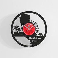 California state wall clock hand made from upcycled vinyl record (LP), Housewarming gift for California resident, California wall decor