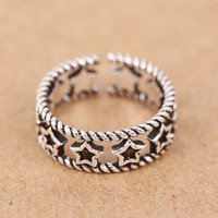 Retro Silver Hollow Accessory Rings Star Open Ring