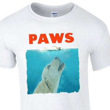 PAWS a parody of the 1975 movie JAWS but with a Dog Custom Cute Funny T-Shirt