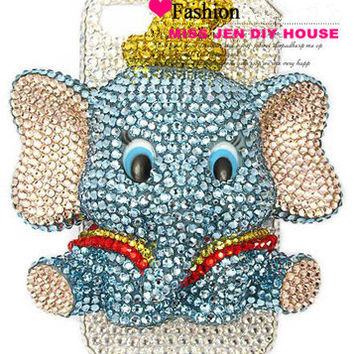 Finished Handmade 3D Elephant Dudu Crystal Diamond Bling Phone Case for iPhone 6/6plus 5/5s 5c 4/4s Samsung HTC Cute Original Design Gifts