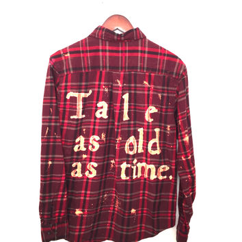 "Plaid Disney Shirt, ""Tale as old as time..."" in Beauty and the Beast Flannel"