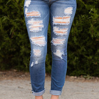 SNEAK PEEK-Distressed Jeans-Medium Wash