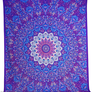 Large Mandala Tapestry Star Psychedelic Purple cotton handmade printed hippy boho bedspread bed sheet