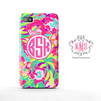 Tropical Lulu Juice Lilly Pulitzer Monogram Blackberry Case Z10, BB Q10 Case