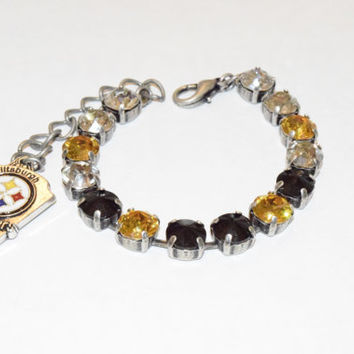 STEELERS CHAMPIONSHIP BRACELET, Swarovski crystal, choose your finish, team bracelet, sports bracelet, designer inspired