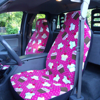 1 set of cupcake cherry print car seat covers and steering wheel