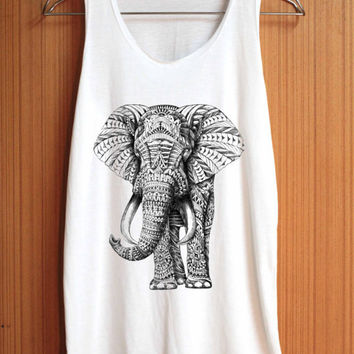 Ornate ELEPHANT Shirt Black and White Animal Shirt Top Tank Top Tee Tunic Singlet Women