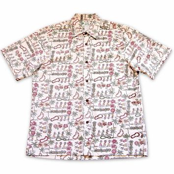 waikiki white reverse print hawaiian cotton shirt