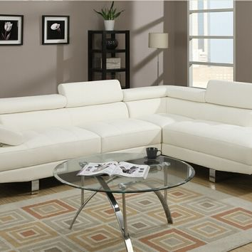 Poundex F7320 2 pc zorba modern style white leather like vinyl sectional sofa with adjustable headrests and tufted seats with chrome legs