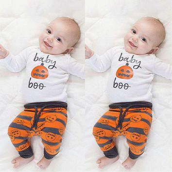 (4Pcs/lot) Toddler Baby Girl Halloween Pumpkin Clothes Causal Sets 3Pcs Boy Clothing Cute Black Letter Romper +Pumpkin Pants+Hat
