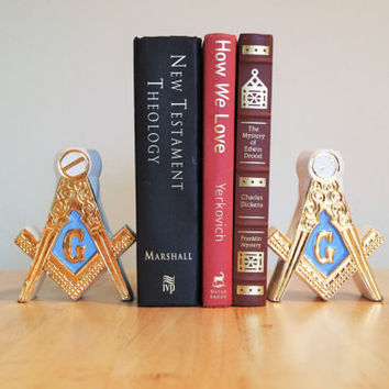 Masonic Bookends, Candle Stick Holders, Ceramic Freemason Blue Lodge Square Compass, Vintage 1960s Free Mason Shriners FREE US Shipping