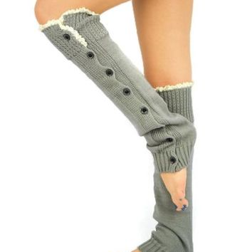 LACE Leg Warmers Grey sexy boot lace socks button slouchy style for women teens
