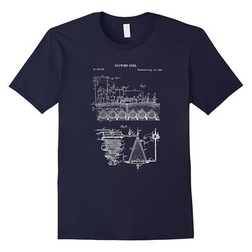 Vintage Home Brewing Blueprint Shirt - Craft Beer Brewer Tee