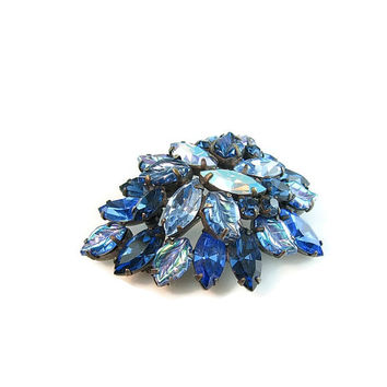 Vintage Rhinestone Brooch. Regency Jewelry. Leaf Jewelry. Sapphire Blue. Carnival Glass. Aurora Borealis. 1950s Statement Jewelry.