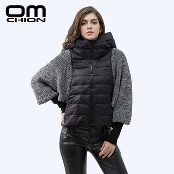 2016 Winter Jacket Women Stand Hooded Parka Fashion Wool Knit Batwing Sleeve Coats Duck Down Warm Female Short Jackets WY01