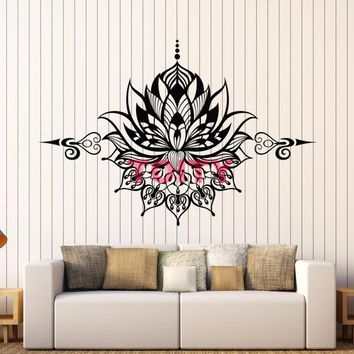 Lotus Vinyl Wall Decal Yoga Mandala Flower Art Wall Decor Sticker Joga Meditation Floral Ornament Mural Wall Sticker H57xW86CM