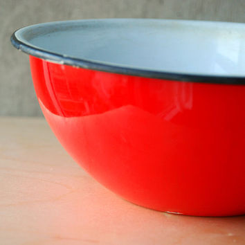 Vintage Red and White Enamel Utility Bowl Mixing by vint on Etsy