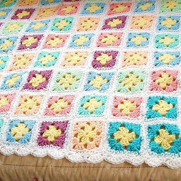 Granny Square Baby Blanket Handmade Crochet Afghan Colorful Boy or Girl Baby Bedding