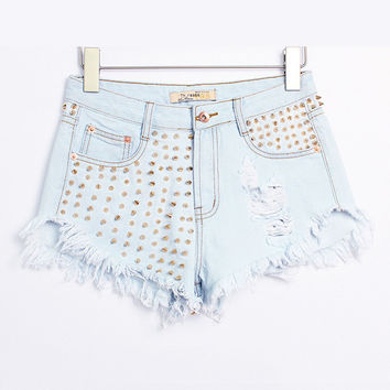 Light Blue Pointed Rivet Frayed High Waist Denim Shorts