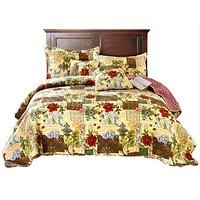 Tache Festive the Holly and the Ivy Patchwork Quilted Coverlet Bedspread Set (SD-29)