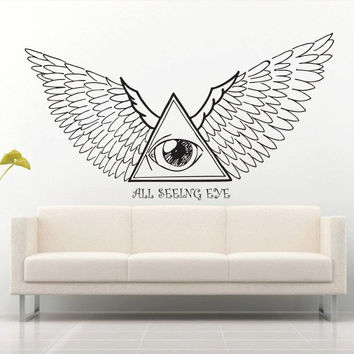 Wall decal decor decals art sticker all seeing eye annuit coeptis illuminati god triangle wing providence inscription (m780)