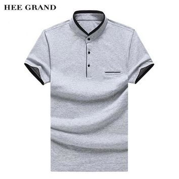 HEE GRAND Polo Shirt For Men Stand Collar Pockets Style