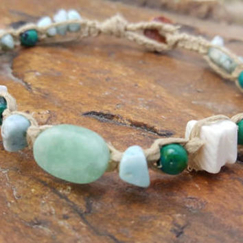 Hemp Anklet, Puka Shell Anklet, Chrysocolla, Blue Larimar, Shell Anklet, Hemp Jewelry, Handmade, Beach Jewelry, Gemstone Jewelry, Anklet