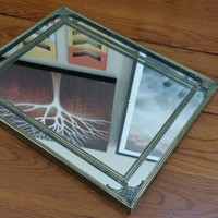 Vintage Ornate Brass Accented Hollywood Regency Style Mirror Tray Display