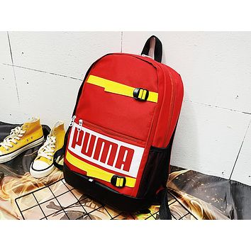 PUMA fashionable printed patchwork color backpack is a hot seller for women's backpacks Red