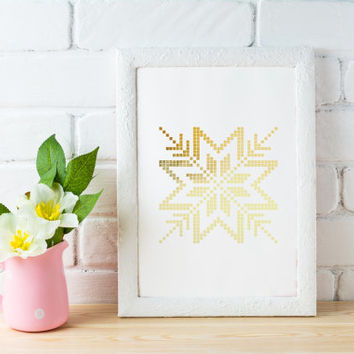 Norwegian Snowflakes, Real Gold Foil Print, Scandinavian Print, Winter Prints,Patterns Wall Art,Abstract Poster, Geometric Print, Snowflakes