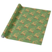 Gold Rudolph Reindeer Happy Holiday Gift Wrap