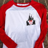 Free Shipping!! Castle Monogram Unisex Raglan / Vacation Shirts / Mouse Raglans / Mouse with Bow Shirts / family vacation