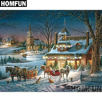 5D Diamond Painting Horses and Sleighs at Christmas Kit
