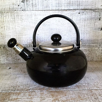 Enamel Tea Kettle Retro Black Metal Teapot with Removable Whistle Vintage Whistling Tea Kettle Black Teapot Mid Century Kitchen Copco