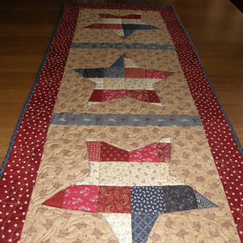 Americana Red White Blue Quilted Table Runner Patchwork Stars Primitive Quilt