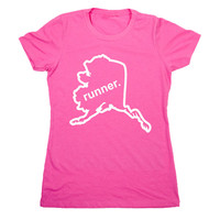 Womens Everyday Runners Tee Alaska State Runner (Outlined) | Running Everyday Tees | Running Gifts