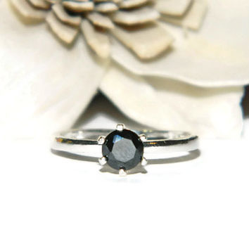1/2 Carat Black Diamond Promise Ring, Preengagement Ring, Sterling silver