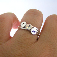 Custom Initial Stack Rings, Sterling Silver Rings, Personalized Rings, Set Of Three