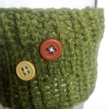 Cup cozy sleeve - avacado green reusable take out coffee sleeve with buttons