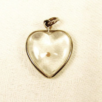 Lucite Mustard Seed Heart Shaped Charm Pendant