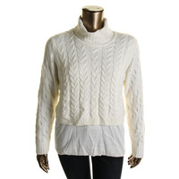 Calvin Klein Womens Cable Knit Layered Turtleneck Sweater