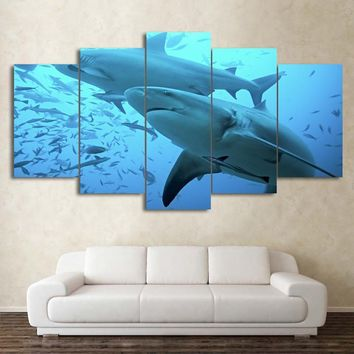 Sharks Deep Blue Ocean Fish Five Piece Canvas Wall Art Home Decor