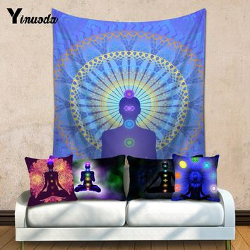 Yinuoda Wall Hanging Chakra Indian Mandala Tapestry 200X150cm Bohemian Bedspread Dorm Cover Room Wall Art Decor