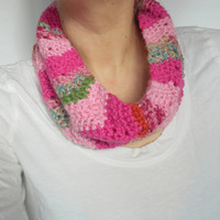 Chevron Stitch Cowl Scarf in Pinks and Greens,  ready to ship.