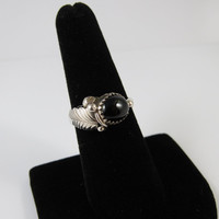 Vintage Sterling Silver Black Onyx Ring, Native American Ring, Navajo Ring, Vintage Black Onyx Ring Size 7.5