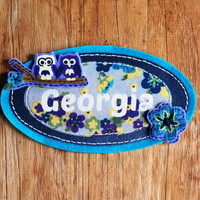 Personalised Kids Name Plaque with Owls and Flowers