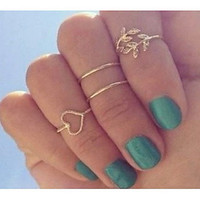 Set of 4 gold or silver tone midi knuckle rings with heart, leaf w rhinestones- 14mm/15mm/16mm- gypsy, boho, eclectic hand jewelry- toes too