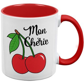 Fruit Cherry Mon Cheri My Darling Red Handle Coffee Mug