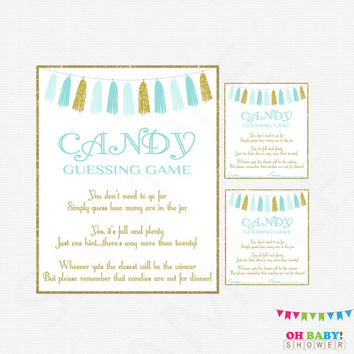 Candy Guessing Game, Boy Baby Shower, Blue Gold Baby Shower, Guess how many candies in jar, Baby Shower Printables, Download, Tassels, TASBG